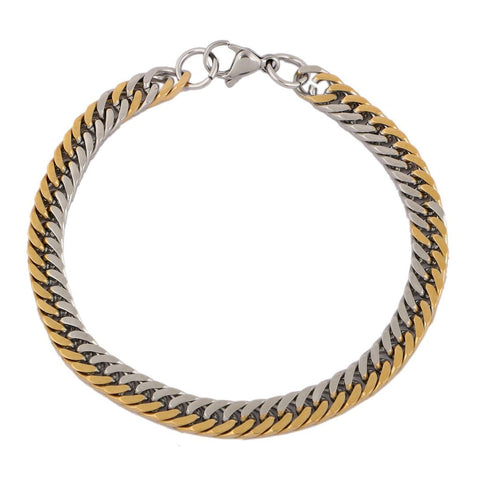 18K Gold Rhodium Plated Classic Curb Bracelet For Men