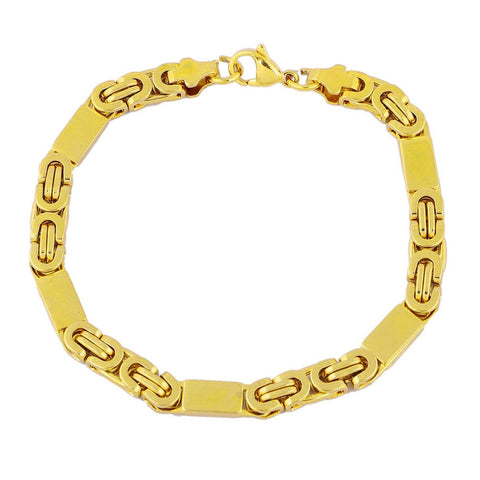18K Gold Plated 3D Sleek Byzantine Bracelet For Men