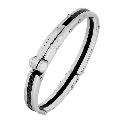 Mens Black Stainless Steel Oval Openable Kada Bracelet