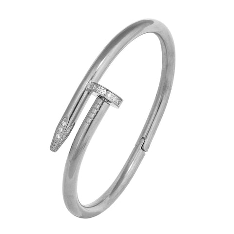 Nail Gothic Cz Stainless Steel Openable Cuff Kada Bangle Bracelet Men