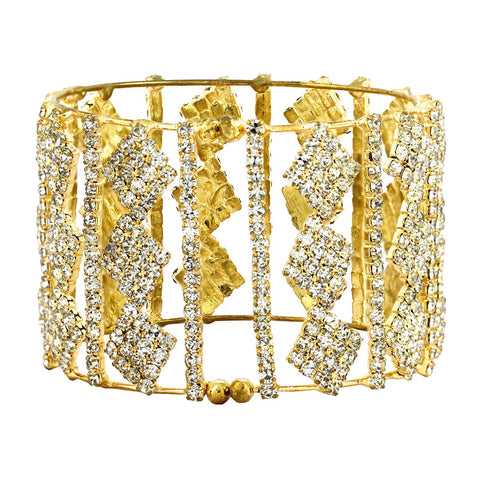 Free Size American Diamond Gold Plated Cuff Kada Bangle For Women