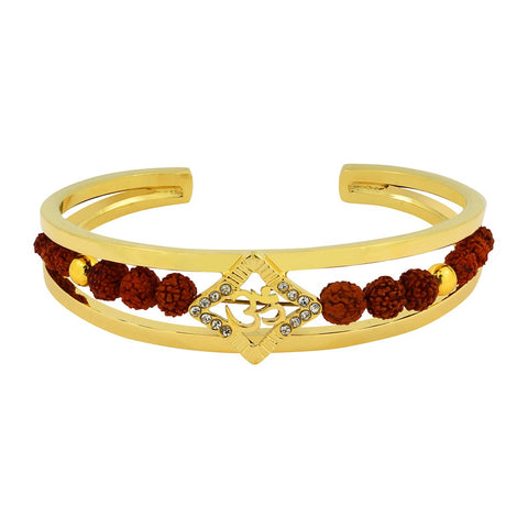 Rudraksh Cz Gold Aum Square Om Cuff Kada Ethnic Bracelet Bangle Men
