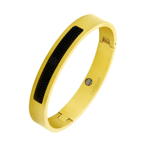 Designer Solid 316L Stainless Steel Gold Black Silicon Kada Bangle Men