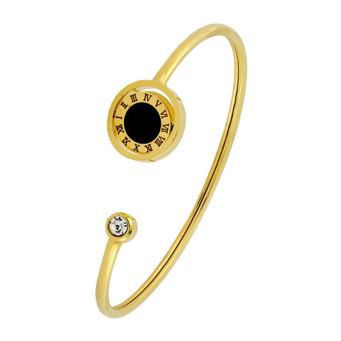 Roman Digits 18K Gold Black Stainless Steel Cuff Kada Bracelet Women
