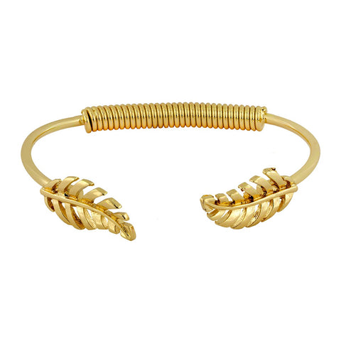 Stylish Etched Leaf 18K Gold Brass Cuff Bracelet For Girls Women