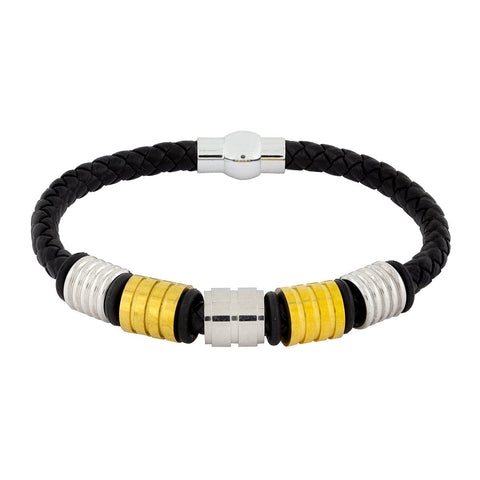 18K Gold Braided Leather Strand Wrist Band Bracelet For Men