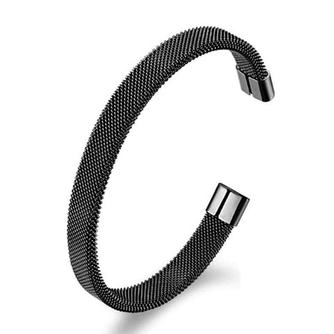 Slim Mesh Black 316L Stainless Steel Cuff Kada Bangle Bracelet For Men