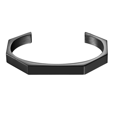 Handcuff Black 316L Stainless Steel Cuff Kada Bangle Bracelet For Men