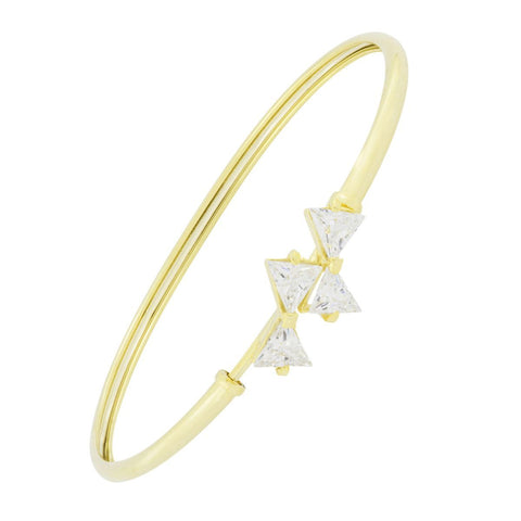 Triangle Cz American Diamond 18K Gold Brass Kada Bangle Bracelet Women