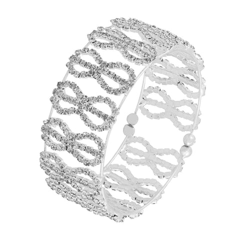 Silver Cz Brass Silver Stretchable Bangle Cuff Kada Bracelet Women