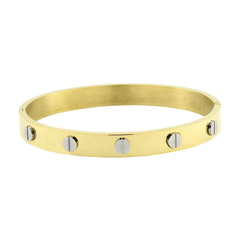 18K Gold 316L Stainless Steel Openable Kada Bangle Bracelet For Men