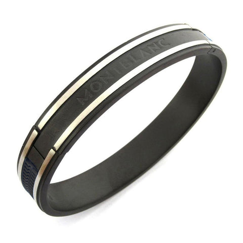 German Luxury Black Silver Stainless Steel Kada Bangle Bracelet Men