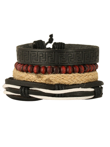Leather Handmade Biker Brown Bead Strand Wrist Band Bracelet Combo