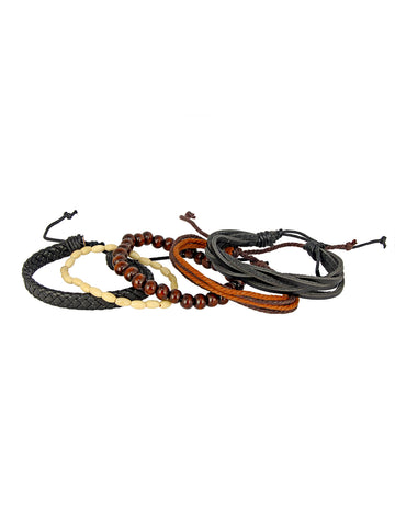 100% genuine black leather coconut beads & blue black dyed rope stylish casual band combo pack of 2 bracelet boys men