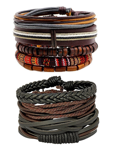 100% genuine brown leather coconut beads dyed rope casual wrist band strand combo pack of 2 bracelet boys men