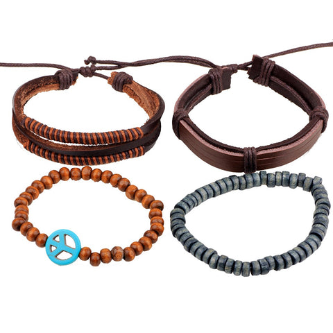 Leather Peace Brown Biker Beads Strap Strand Wrist Band Bracelet Combo