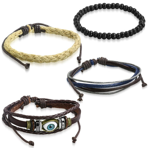 Leather Eyes Layer Charm Biker  Beads Strand Wrist Band Bracelet Combo