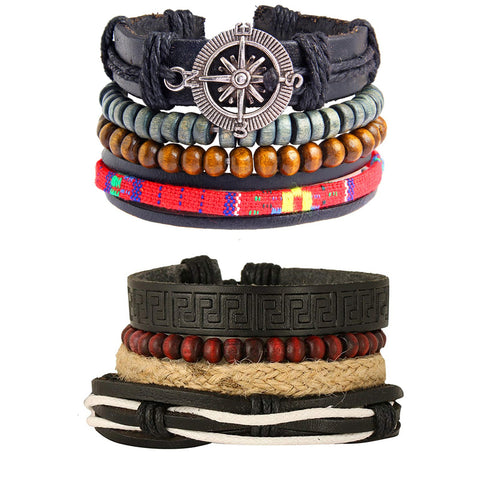 Leather Handmade Wood Tibetan Multistrand Wrist Band Bracelet Combo