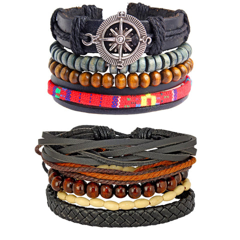 Leather Handmade Wood  Coconut Multistrand Wrist Band Bracelet Combo