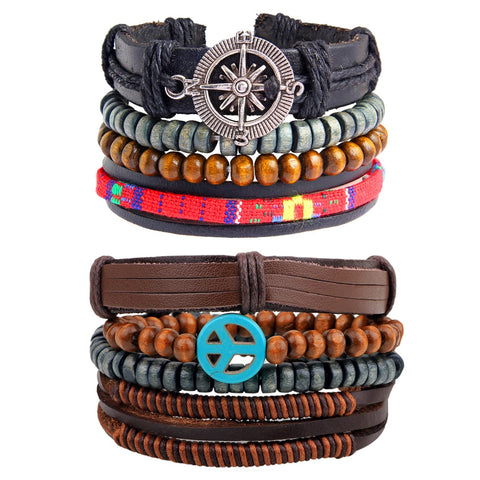 Leather Handmade Wood Peace Brown Strand Wrist Band Bracelet Combo