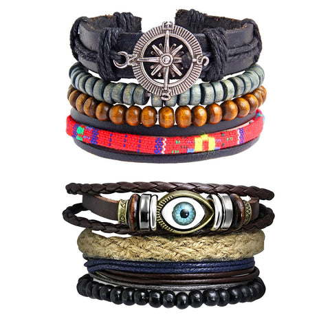 Leather Made Wood Eyes Layer Charm Strand Wrist Band Bracelet Combo