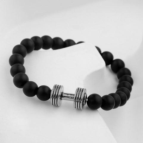 Dumbell Barbell Beads Onyx Black Silver Stretch Bracelet Men