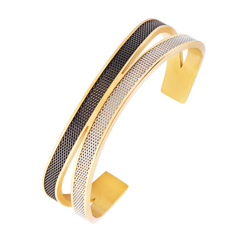 Black Silver Gold Stainless Steel Cuff Kada for Men
