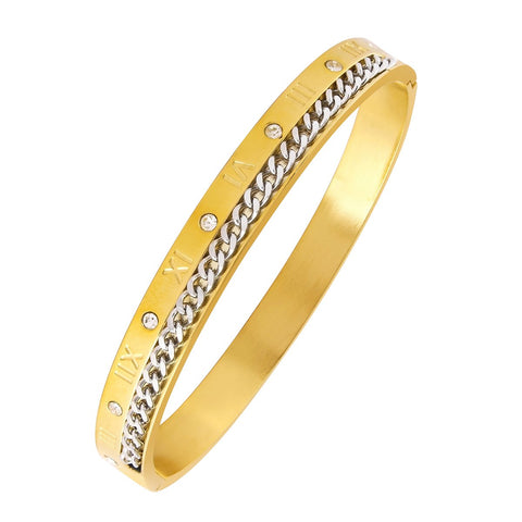 Gold Roman Curb CZ 316L Stainless Steel Kada for Men