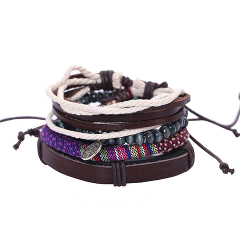 Leather Made Braided Brown Charm Wood Strand Wrist Band Bracelet Combo