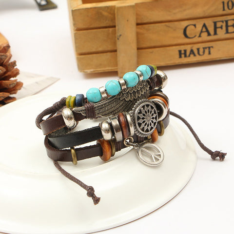 Leather  Peace Charm Biker  Beads Strand Wrist Band Bracelet Combo