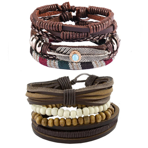 Leather Feather Charm Biker  Beads Strand Wrist Band Bracelet Combo