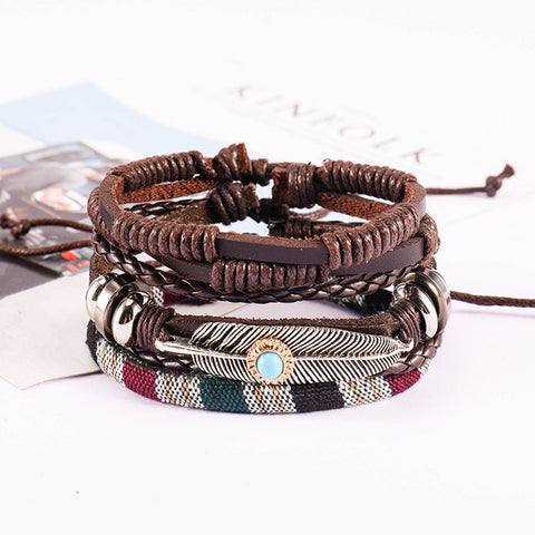 Leather Feather Brown Charm Made Wood Strand Wrist Band Bracelet Combo
