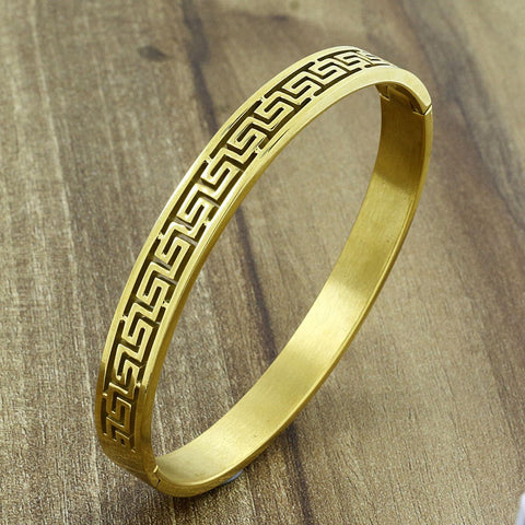 Daily Wear  18K Gold Stainless Steel  Oval Bangle Bracelet Men