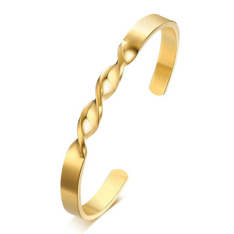 18K Gold Stainless Steel Open Cuff Kada Bangle Bracelet Men