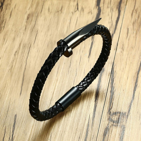 Cartier Nail Black 316L Stainless Steel Braided Leather Bracelet