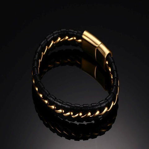 Black Braided Leather Gold Stainless Steel Bracelet for Men