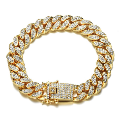 Hip Hop Curb Cuban Cubic Zirconia Chunky Gold Bracelet For Men