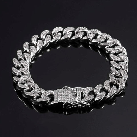 Hip Hop Curb Cuban Cubic Zirconia Chunky Silver Bracelet For Men