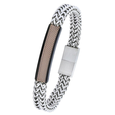18K Rose Gold Silver ID Dual Layer Stainless Steel Magnetic Clasp Bracelet Men