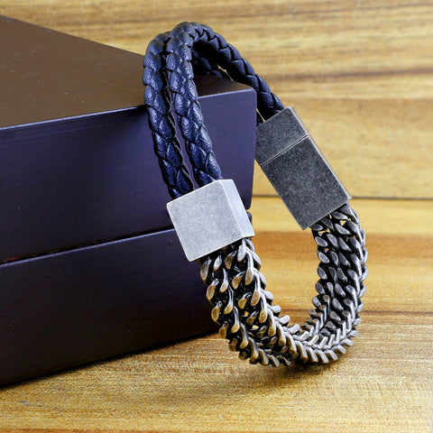 Black 316L Stainless Steel Genuine Leather Magnetic Clasp Bracelet Men