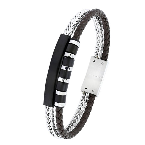 Luxury Silver Stainless Steel Black Leather Magnetic Bracelet for Men