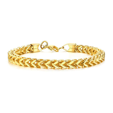 22K Gold 6mm Double Curb Wheat 316L Stainless Steel Bracelet for Men
