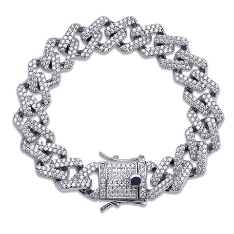 Curb Cuban Hip Hop Links Silver Rhinestone Bracelet for Men