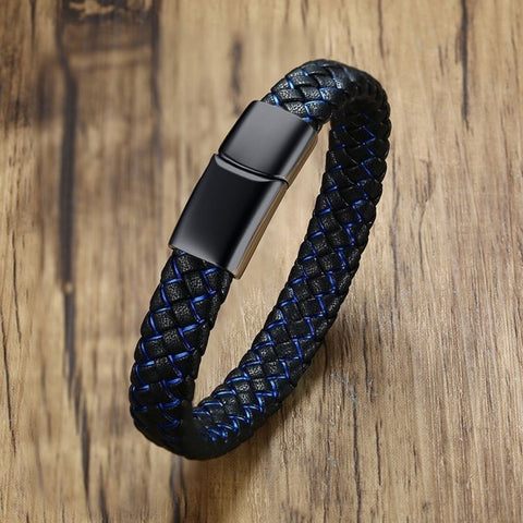 Braided Blue Black Leather Stainless Steel Wrist Band Bracelet Men