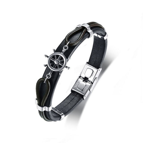 Anchor Rudder Sailor 316l Stainless Steel Black Leather Bracelet Men