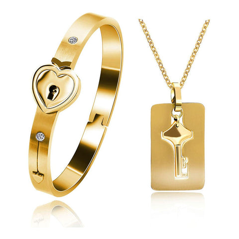 Lock Key Gold Stainless Steel Kada Bracelet Pendant Chain Combo Couple