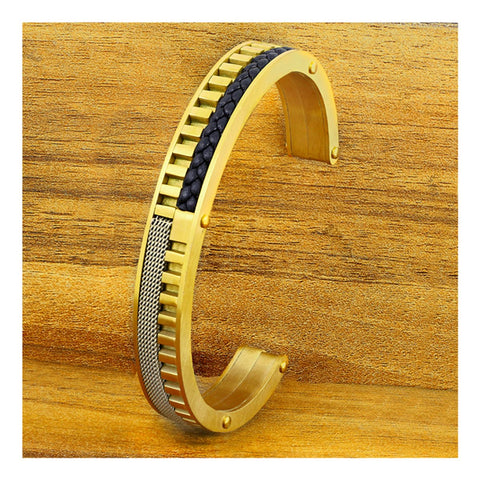 18K Gold 316L Stainless Steel Cuff Kada Bangle Bracelet Men Women
