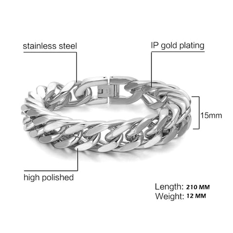 Glossy Silver Curb Cuban 316L Stainless Steel Bracelet For Men