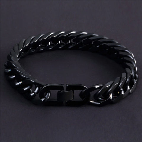 Glossy Black Curb Cuban 316L Stainless Steel Bracelet For Men