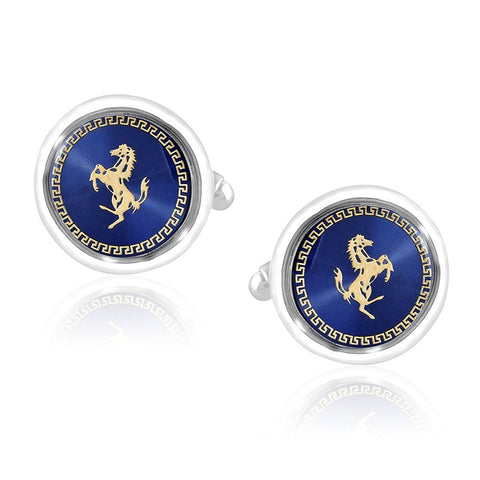 Blue Gold Ferrari Horse Formal Shirt Cufflinks for Men Branded Gift